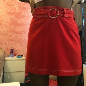 Red Belted Skirt